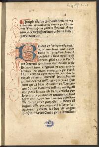 St. Antonin, Incipit titulus de sponsalibus et matrimonio..., [Toulouse, vers 1476] (BU Arsenal, UT1C,Resp Pf XV-1 )