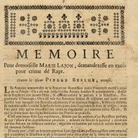 Mémoire pour demoiselle Marie Lajon,...(sans lieu, vers 1750)