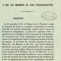 A M. le directeur et à MM. les membres du jury d'expropriation (Toulouse, 1850)